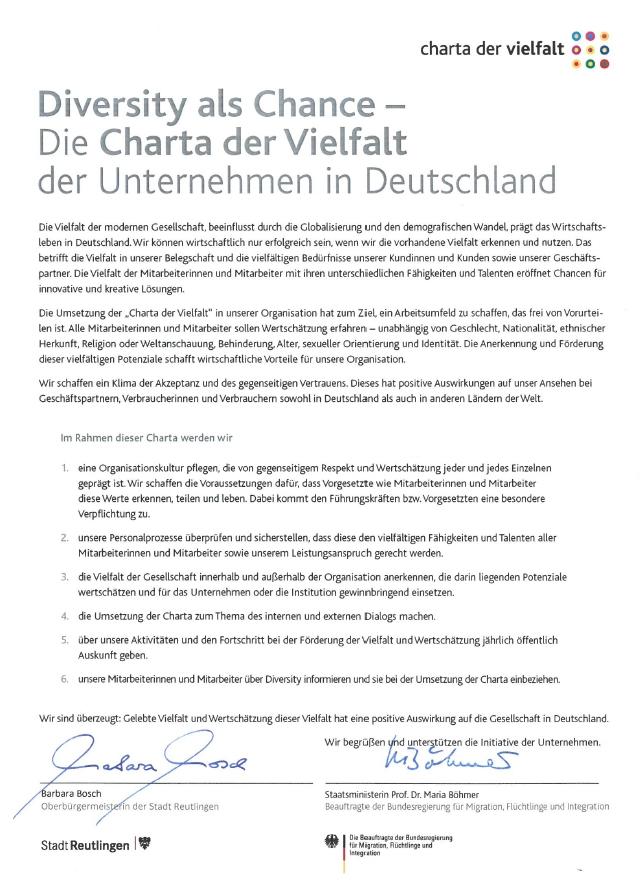 Wortlaut der Charta der Vielfalt