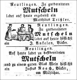 Drei Anzeigen aus dem Amtsblatt aus dem Jahr 1851, die zum Mutscheln einladen