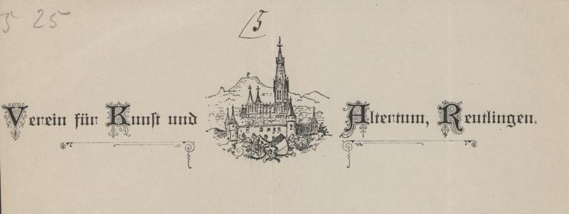 Briefkopf des Vereins für Kunst und Altertum Reutlingen 1891
