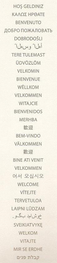 Das Wort 'Willkommen' in mehreren Sprachen