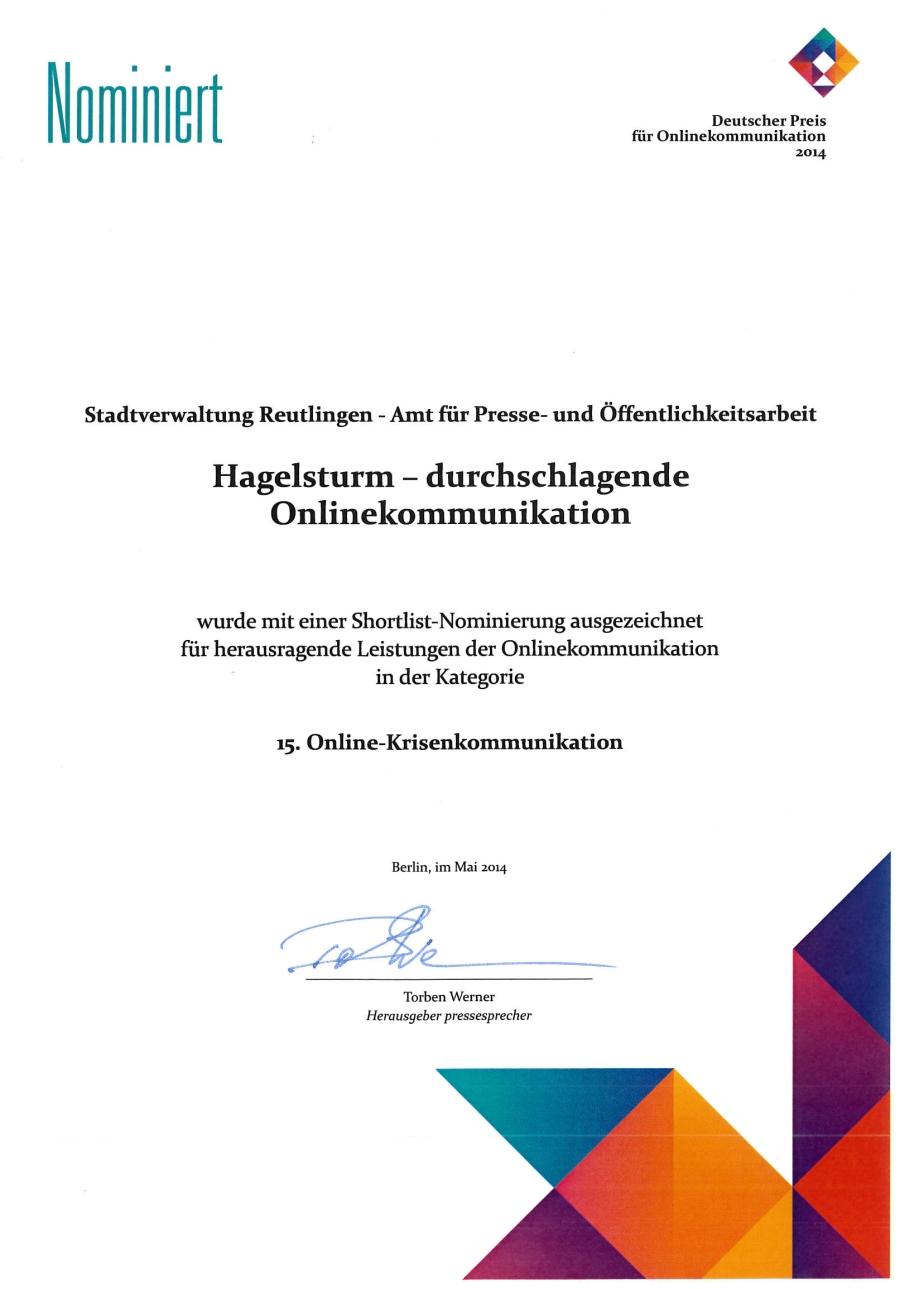 Das städtische Amt für Presse- und Öffentlichkeitsarbeit wurde für den Deutschen Preis für Onlinekommunikation nominiert