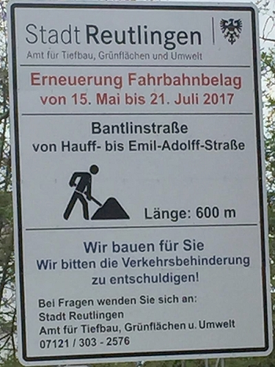Sanierung der Bantlinstraße - Verkehrsschild