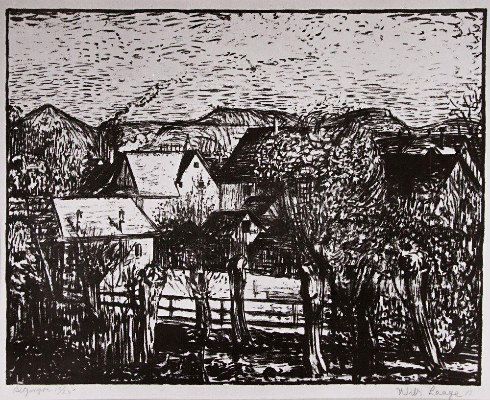 """Wilhelm Laage: """"Betzingen"""", Lithographie, 1912"""