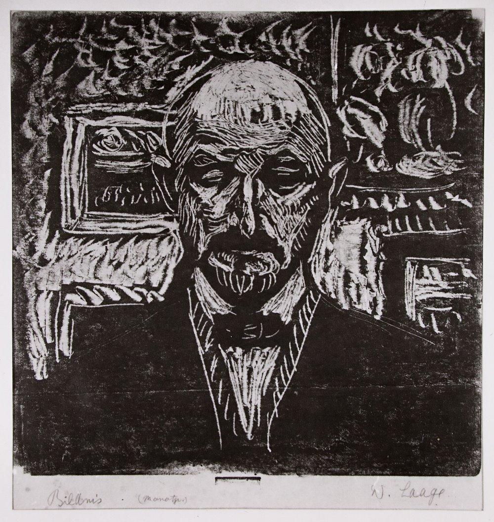 "Wilhelm Laage: ""Bildnis"" (Selbstbildnis), Monotypie, 1922"