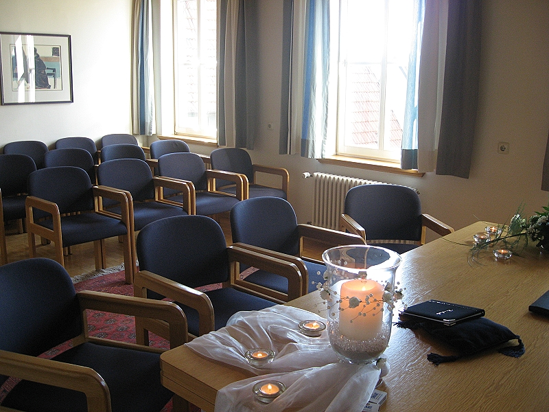 Blick in das Trauzimmer des Bezirksamts Rommelsbach