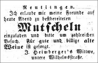 Eine Anzeige aus dem Amtsblatt aus dem Jahr 1851, die zum Mutscheln einladen