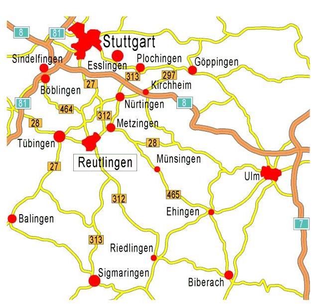 Reutlingen im Großraum Stuttgart - Bild wird beim Anklicken in Originalgröße geöffnet