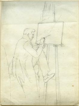 Unbekannter deutscher Künstler des 19. Jahrhunderts, Sitzender Künstler vor der Staffelei (aus der aktuellen Auswahl)