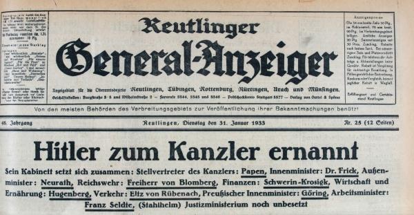 Hitlers Ernennung zum Reichskanzler beherrschte die Schlagzeilen im Lande am Tag nach der Machtübertragung an die Nationalsozialisten (Gea vom 31.1.1933