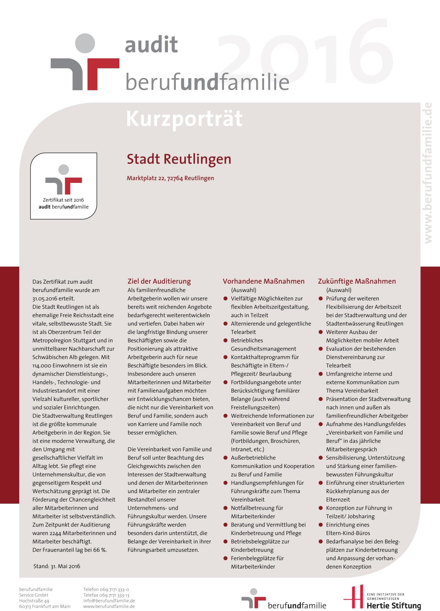 Kurzportrait Stadt Reutlingen Audit Beruf und Familie