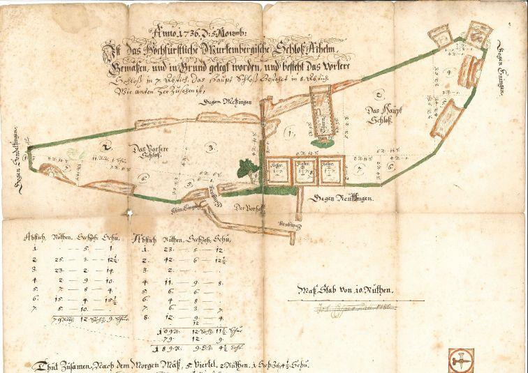 1736 entstandener Plan der Burg Achalm (Archiv des Hauses Württemberg)