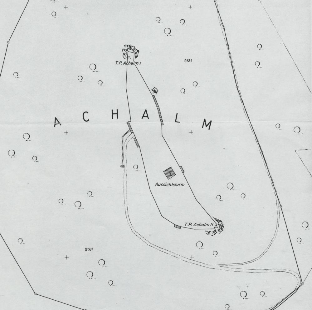 Karte des Achalmgipfels (Stadtmessungsamt 1974)