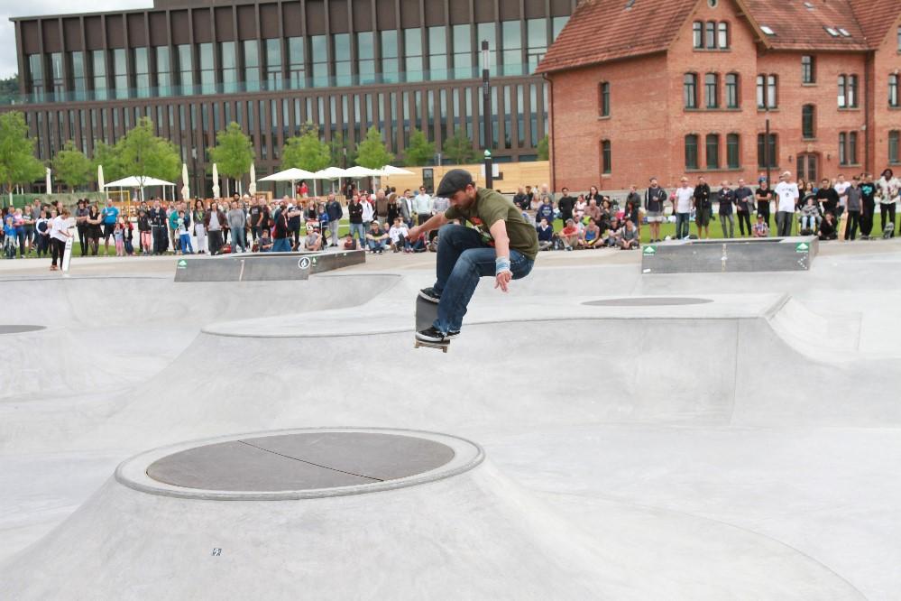 Gut besuchte Skateanlage