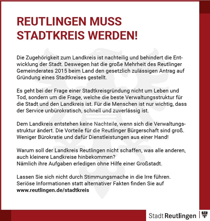 """Anzeige """"Reutlingen muss Stadtkreis werden!"""""""