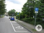 3 Behindertenparkplätze in der Marie-Curie-Straße