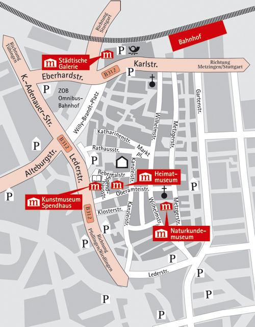 Anfahrtsskizze zu den Reutlinger Museen - Zum Vergrößern bitte in das Bild klicken