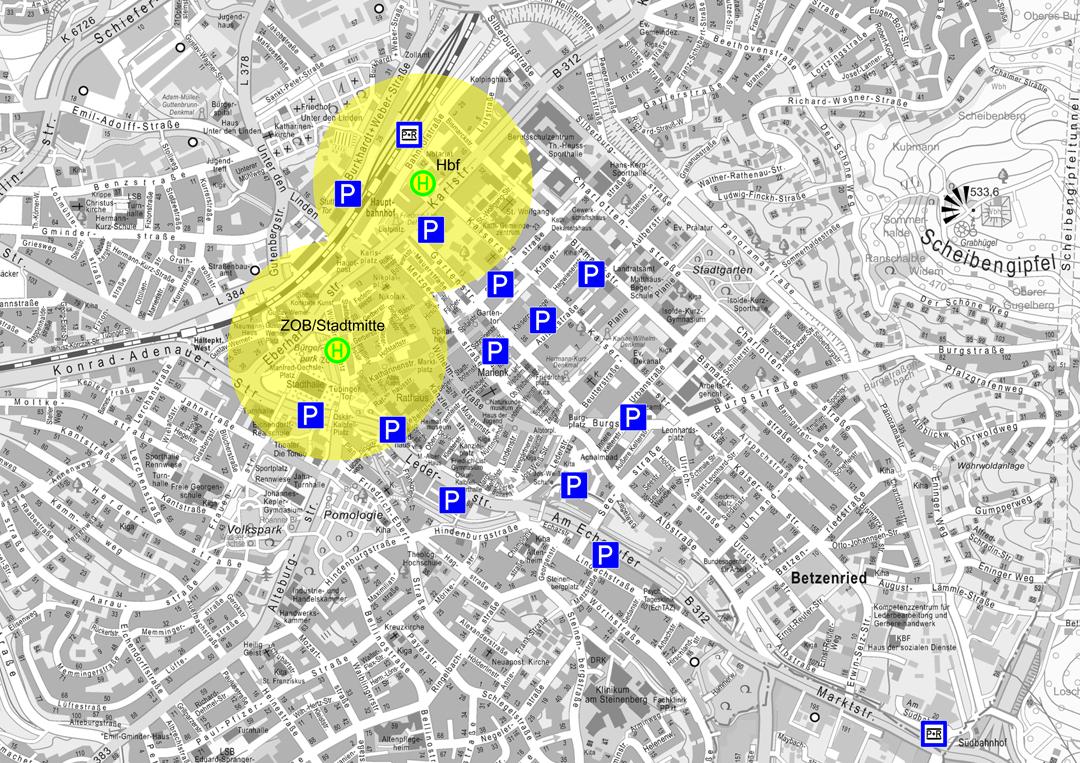 Erschließung der Innenstadt mit dem ÖPNV ohne zentrale Nahverkehrsachse