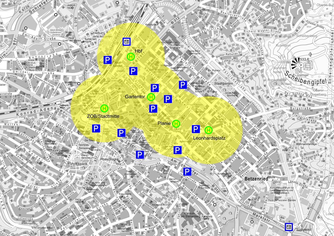 Erschließung der Innenstadt mit dem ÖPNV mit zentrale Nahverkehrsachse