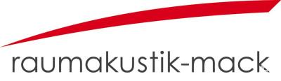 Das Logo besteht aus dem Namen Raumakustik-Mack in Kleinbuchstaben und einem roten Bogen, der sich darüber spannt.