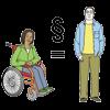 Das Bild zeigt die Gleichberechtigung zwischen Menschen mit und ohne Behinderung.