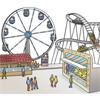 Das Bild zeigt eine Veranstaltung oder einen Jahrmarkt.