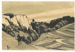 Zeichnung eines Reiters vor wildromantischer Landschaft
