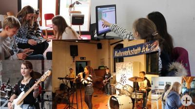 Das Bild besteht aus einer Collage aus sechs verschiedenen Bildern, die allesamt Kinder und Jugendliche zeigen: beim Singen und Musizieren, am Computer oder am Smartphone.