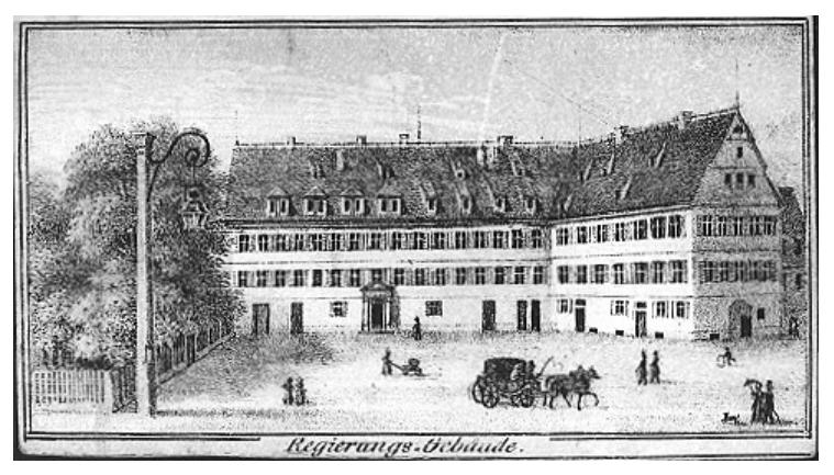 Das Bild zeigt den Schwörhof, den heutigen Kanzleiplatz vor dem List-Gymnasium
