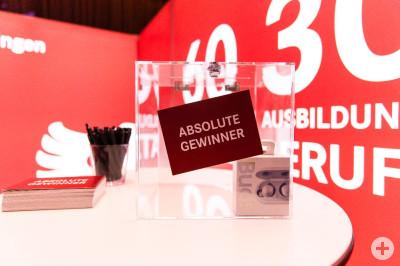 """Zu sehen ist eine transparente Box, auf der eine rote Postkarte mit der Aufschrift """"Absolute Gewinner"""" klebt. Daneben sind auf einem Stehtisch ein Glas mit Kugelschreibern sowie ein Stapel Postkarten zu sehen. Im Hintergrund der städtische Messestand."""