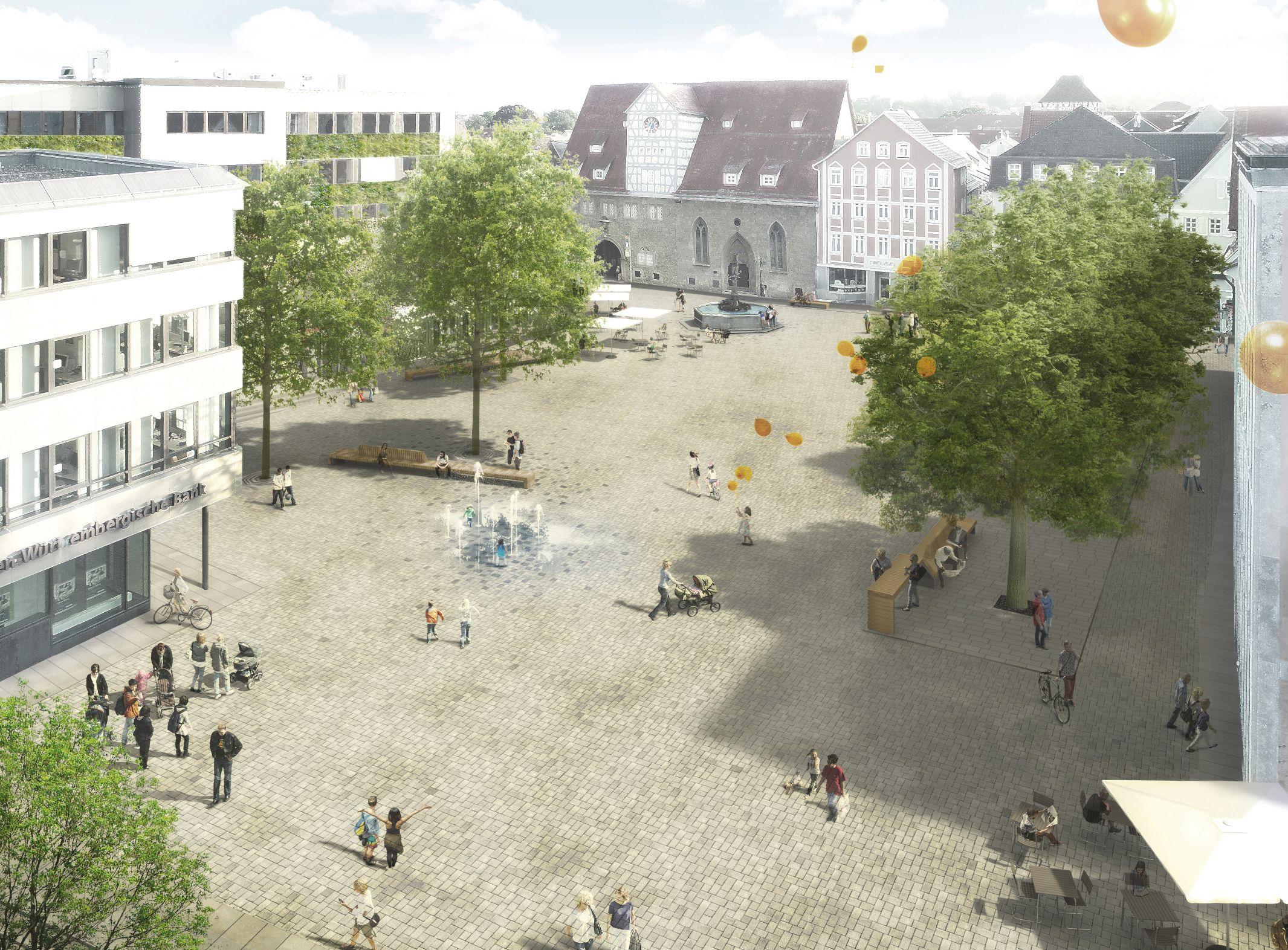 1. Platz Realisierungswettbewerb: Ansicht Marktplatz von Glück Landschaftsarchitektur GmbH, Stuttgart mit Daniel Schönle Architektur und Stadtplanung, Stuttgart