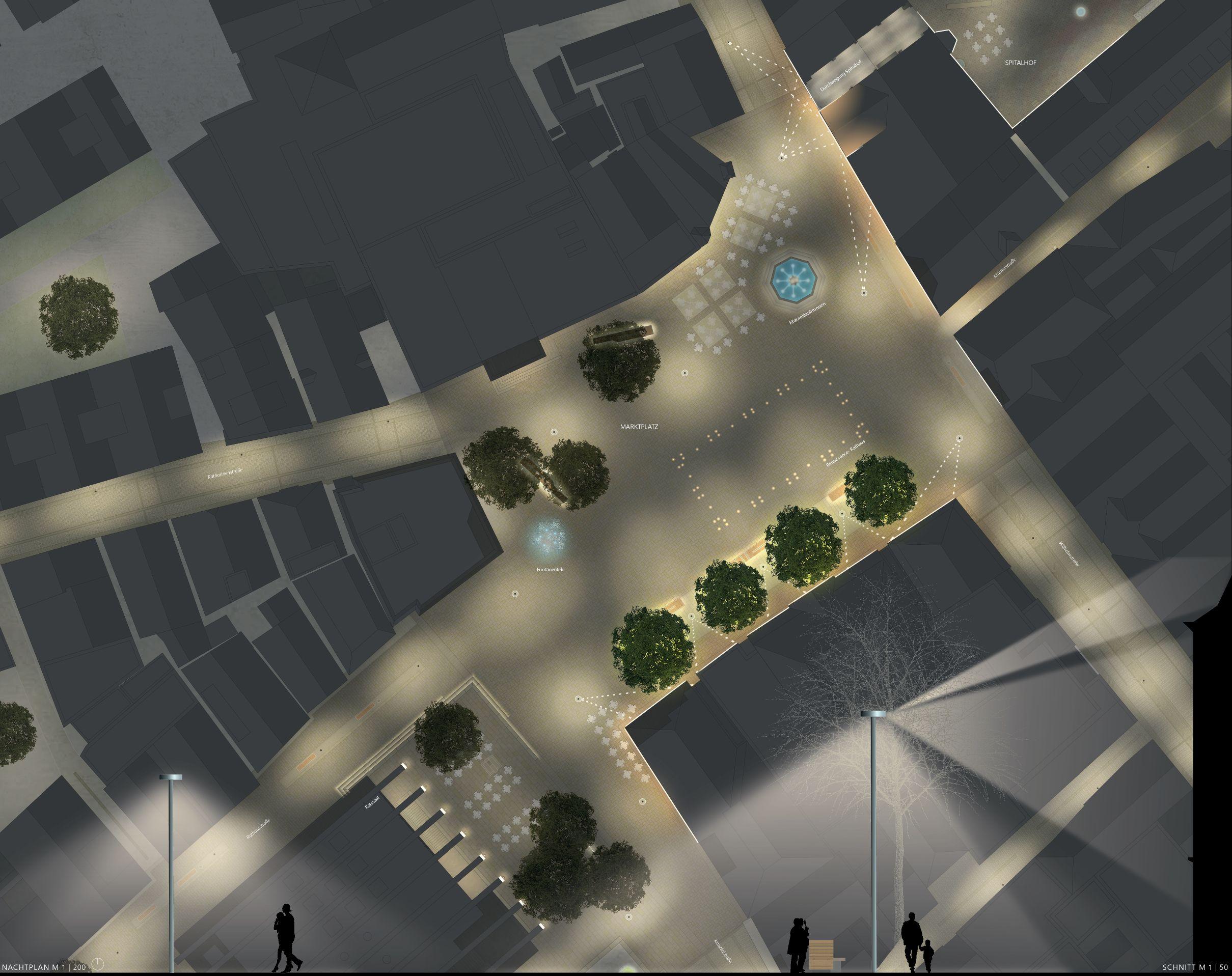 1. Platz Realisierungswettbewerb: Aufsicht Marktplatz im Nachtplan mit Beleuchtungskonzept von Glück Landschaftsarchitektur GmbH, Stuttgart mit Daniel Schönle Architektur und Stadtplanung, Stuttgart