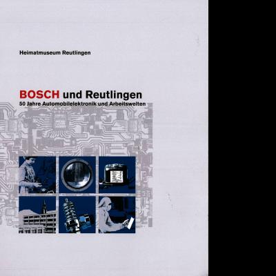 Das Katalogcover zeigt hauptsächlich sechs schwarz-weiß Zeichnungen vor einem blauen Hintergrund, die die Geschäftsbereiche und den Reutlinger Standort der Firma Bosch darstellen.