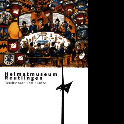 """Das Cover des Katalogs zum Thema """"Reichsstadt und Zünfte"""" des Heimatmuseums zeigt eine mittelalterliche Zeichnung von zwei Musikern und 15 Männern, die um eine gedeckte Tafel sitzen. Umrahmt wird das Bild von Zunftwappen. Außerdem ist eine Lanze zu sehen."""