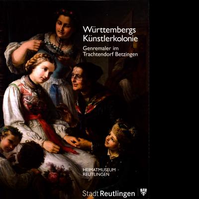 Das Bild zeigt eine Zeichnung mit zwei Frauen, die einer weiteren sitzenden jungen Frau mit Flechtfrisur einen Blumenkranz auf den Kopf setzen. Sie tragen Trachten. Neben ihnen sitzen zwei kleine Mädchen mit einem Blumenstrauß und ein kleiner Junge.