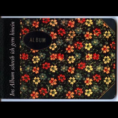 Das Katalogcover zeigt ein Poesiealbum mit Blümcheneinband.