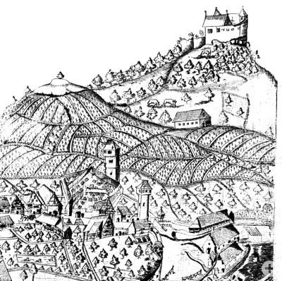 Die Burg Achalm auf einem Stich des L. Ditzinger, 1620 (Ausschnitt)