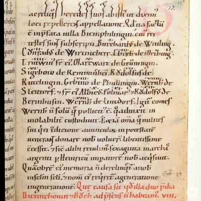 Bempflinger Vertrag (Ausschnitt) in der Zwiefalter Chronik (um 1136)
