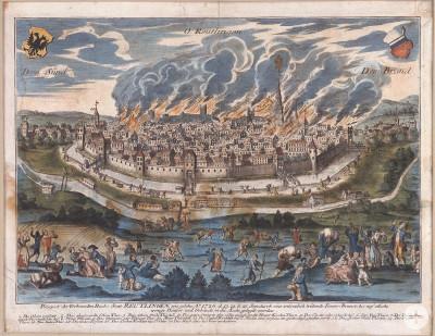 Zeitgenössische Darstellung des Stadtbrands von 1726