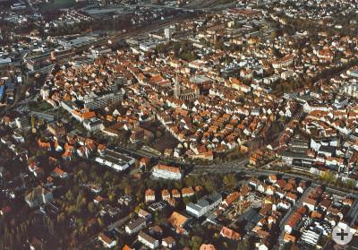 Luftaufnahme von Reutlingen aus dem Jahr 1988