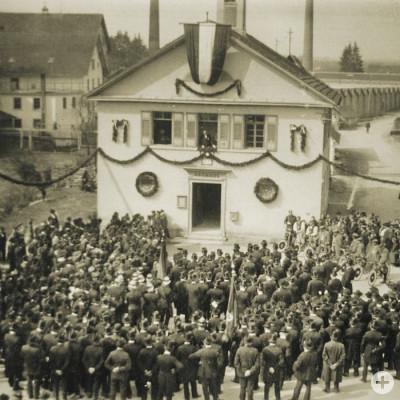Eingemeindungsfeier im Betzinger Rathaus am 1. April 1907.