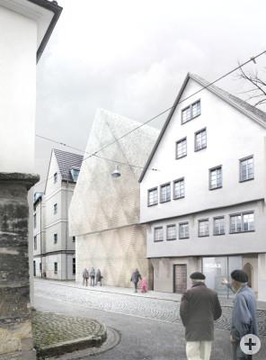 Der Siegerentwurf von Wulff Architekten zeigt das Glashaus am Tag
