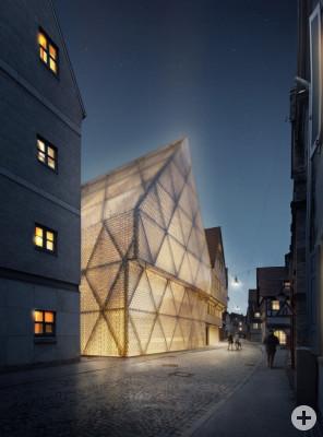 Der Siegerentwurf von Wulff Architekten zeigt das Glashaus bei Nacht