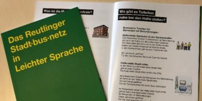 Das Reutlinger Stadtbusnetz in Leichter Sprache - Das Bild zeigt das Aussehen der Broschüre.