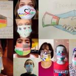 Kinder und Erwachsene mit bunt bemalten Mund-Nasen-Bedeckungen