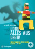 Plakat für die Lego-Ausstellung. Figur aus Lego mit drachenförmigem Schatten.