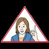 Das Bild zeigt ein rotes Dreieck und eine Frau mit erhobenem Finger.