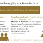 Neue Cornaverordnung ab 1.12.2020 - Infos zu den Kontaktbeschränkungen