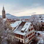 Marienkirche und Heimatmuseumsgaren mit Schnee, im Hintergrund die Achalm - Foto Saskia Knoll.jpg