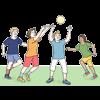 Man sieht 4 Kinder, die mit einem Ball spielen.