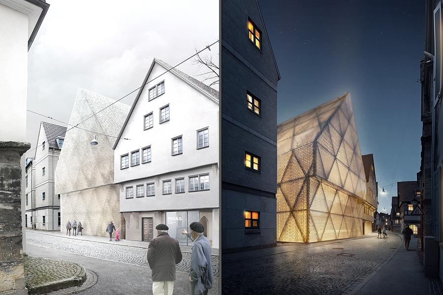 Der Neubau Oberamteistraße 34 - auf dem linken Bild bei Tag, auf dem rechten Bild bei Nacht